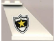 Part No: 2340pb010  Name: Tail 4 x 1 x 3 with Black and White Police Badge with Yellow Star Pattern on Right Side (Sticker) - Set 4012