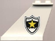 Part No: 2340pb011  Name: Tail 4 x 1 x 3 with Black and White Police Badge with Yellow Star Pattern on Left Side (Sticker) - Set 4012