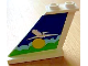 Part No: 2340pb031L  Name: Tail 4 x 1 x 3 with White Airplane over Sun and Clouds Pattern on Left Side (Sticker) - Set 1818