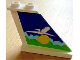 Part No: 2340pb031R  Name: Tail 4 x 1 x 3 with White Airplane over Sun and Clouds Pattern on Right Side (Sticker) - Set 1818