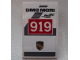 Part No: 24309pb011  Name: Slope, Curved 3 x 2 No Studs with Black 'DMG MORI' and 'WEC', White '919' on Red Background and Porsche Logo Pattern (Sticker) - Set 75876