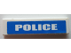 Part No: 2431pb447  Name: Tile 1 x 4 with White 'POLICE' on Blue Background Pattern (Sticker) - Set 7245-2