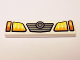 Part No: 2431pb461  Name: Tile 1 x 4 with Yellow and Orange Headlights and Grille with Concentric Circles Badge Pattern