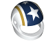 Part No: 2446pb39  Name: Minifigure, Headgear Helmet Standard with Gold and Blue Stripes and White Stars Pattern