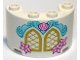 Part No: 24593pb04  Name: Cylinder Half 2 x 4 x 2 with 1 x 2 Cutout with Gold Windows and Bright Light Pink Shell and Flowers Pattern