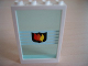 Part No: 2493c02pb01  Name: Window 1 x 4 x 5 with Trans-Light Blue Glass with White Stripes and Fire Logo Badge Pattern
