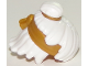 Part No: 25750pb02  Name: Minifig, Hair Mid-Length Tousled, Top Knot Bun with Pearl Gold Band and Headband Pattern
