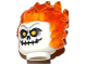 Part No: 26990pb02  Name: Minifigure, Head Modified Alien with Trans Orange Flaming Hair and Skull with Yellow Eyes Pattern
