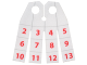 Part No: 29346pb01  Name: Minifigure, Cape Cloth, 4 Rectangular Strips with Calendar Numbers Pattern