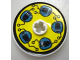 Part No: 2958pb005  Name: Technic, Disk 3 x 3 with Dark Turquoise Helmets on Yellow Pattern (Sticker)