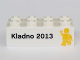 Part No: 3001pb105  Name: Brick 2 x 4 with 'Kladno 2013' and Yellow Minifigure Front, LEGO Logo and 'Den otevrenych dverí' Back Pattern (Kladno Open Day Promo)