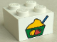 Part No: 3003pb021  Name: Brick 2 x 2 with Bowl of Ice Cream Sherbet Pattern (Sticker) - Set 4165