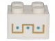 Part No: 3003pb108  Name: Brick 2 x 2 with Gold and Medium Azure Ornament Pattern (Sticker) - Set 70838