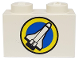 Part No: 3004pb010  Name: Brick 1 x 2 with Shuttle and Yellow Circle Pattern