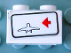 Part No: 3004pb017R  Name: Brick 1 x 2 with Red Arrow on Right Side pointing Left & Airplane Outline Pattern (Sticker) - Set 6399