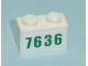 Part No: 3004pb077  Name: Brick 1 x 2 with Green '7636' Pattern (Sticker) - Set 7636