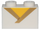 Part No: 3004pb188  Name: Brick 1 x 2 with Gold Trim and Yellow Triangle Pattern