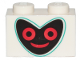 Part No: 3004pb190  Name: Brick 1 x 2 with Black Heart Shape Face with Dark Turquoise Outline and Red Outlined Eyes and Mouth Pattern