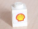 Part No: 3005pb006  Name: Brick 1 x 1 with Shell Logo Pattern (Sticker) - Set 6634