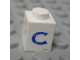 Part No: 3005ptCs  Name: Brick 1 x 1 with Blue 'C' Pattern (Serif Font)