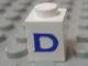 Part No: 3005ptDs  Name: Brick 1 x 1 with Blue 'D' Pattern (Serif Font)