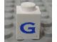 Part No: 3005ptGs  Name: Brick 1 x 1 with Blue 'G' Pattern (Serif Font)