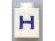 Part No: 3005ptHs  Name: Brick 1 x 1 with Blue 'H' Pattern (Serif Font)