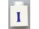 Part No: 3005ptIs  Name: Brick 1 x 1 with Blue 'I' Pattern (Serif Font)