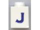 Part No: 3005ptJs  Name: Brick 1 x 1 with Blue 'J' Pattern (Serif Font)