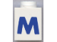 Part No: 3005ptMb  Name: Brick 1 x 1 with Blue 'M' Pattern (Bold Font)