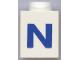 Part No: 3005ptNb  Name: Brick 1 x 1 with Blue 'N' Pattern (Bold Font)