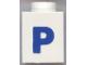 Part No: 3005ptPb  Name: Brick 1 x 1 with Blue 'P' Pattern (Bold Font)