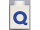 Part No: 3005ptQb  Name: Brick 1 x 1 with Blue 'Q' Pattern (Bold Font)