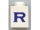 Part No: 3005ptRs  Name: Brick 1 x 1 with Blue 'R' Pattern (Serif Font)