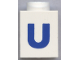 Part No: 3005ptUb  Name: Brick 1 x 1 with Blue 'U' Pattern (Bold Font)