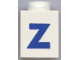 Part No: 3005ptZb  Name: Brick 1 x 1 with Blue 'Z' Pattern (Bold Font)