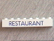 Part No: 3008p24  Name: Brick 1 x 8 with Blue 'RESTAURANT' Pattern
