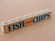 Part No: 3008pb047  Name: Brick 1 x 8 with Blue and Red 'FISH and CHIPS' Text Pattern (Sticker) - Set 1592-1