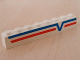 Part No: 3008pb048R  Name: Brick 1 x 8 with Blue -V- and Red Lines Right Pattern (Sticker) - Set 6346