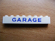 Part No: 3008pb071  Name: Brick 1 x 8 with Blue 'GARAGE' Sans-Serif Pattern