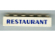 Part No: 3009pb086  Name: Brick 1 x 6 with Blue Restaurant Thick Pattern