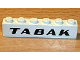 Part No: 3009px30  Name: Brick 1 x 6 with Black 'TABAK' Sans-Serif Bold Pattern