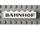 Part No: 3009px36  Name: Brick 1 x 6 with Black 'BAHNHOF' Sans-Serif Pattern