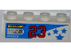 Part No: 3010pb149L  Name: Brick 1 x 4 with 'ZENZORA', 'NUTY REZ', 'SPIN WEAR', Number '23' and Blue Stars Pattern Model Left (Sticker) - Set 8125