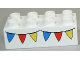 Part No: 3011pb030  Name: Duplo, Brick 2 x 4 with Blue, Red and Yellow Bunting Pattern