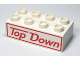 Part No: 3011pb031  Name: Duplo, Brick 2 x 4 with 'Top Down' Text with Border Pattern