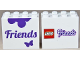 Part No: 30144pb116  Name: Brick 2 x 4 x 3 with 'Friends' and Butterfly front LEGO Friends Logo back Pattern