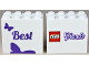 Part No: 30144pb117  Name: Brick 2 x 4 x 3 with 'Best' and Butterfly front LEGO Friends Logo back Pattern