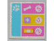 Part No: 30258pb034  Name: Road Sign Clip-on 2 x 2 Square with Paw Print, Dog Bone, White Cross, Bandage and Numbers 5, 17, 2 Pattern (Sticker) - Set 3188