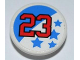 Part No: 30261pb014  Name: Road Sign Clip-on 2 x 2 Round with Number '23' and Blue Stars Pattern (Sticker) - Set 8125